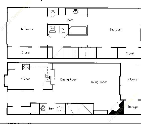 797 sq. ft. B2 floor plan