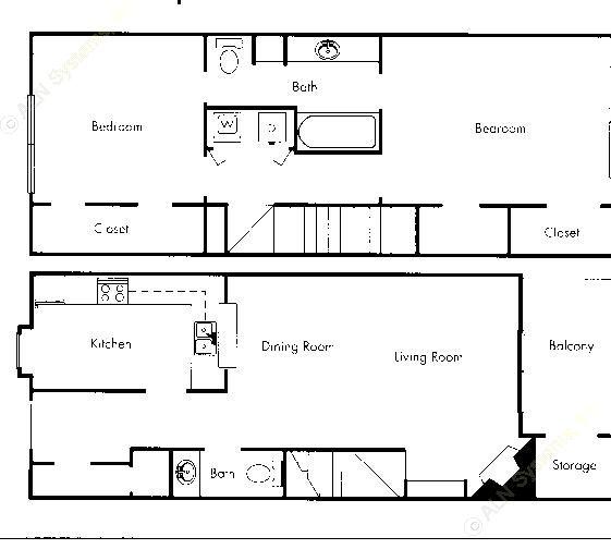 797 sq. ft. B2 floor plan