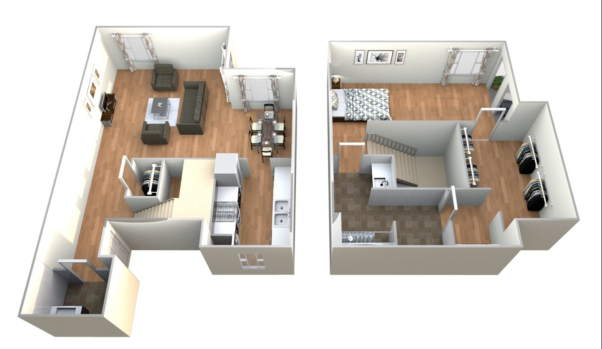 983 sq. ft. 1x1.5 T floor plan