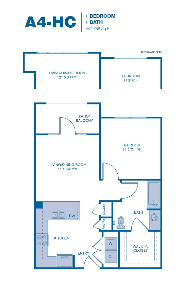 647 sq. ft. A4-HC floor plan