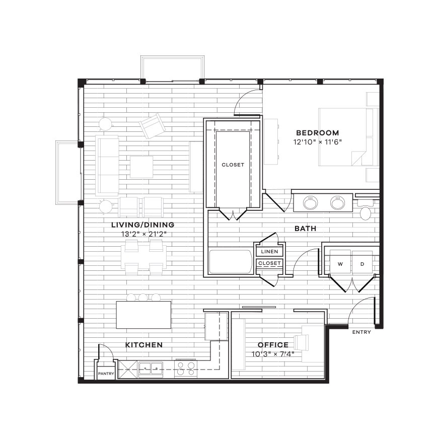 1,085 sq. ft. 1FS floor plan