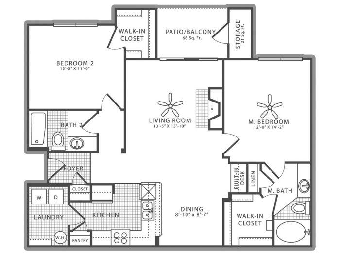 1,238 sq. ft. B2.2 floor plan