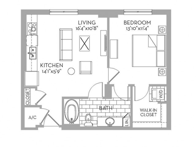 681 sq. ft. Royal(A.1) floor plan