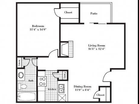 680 sq. ft. A2F floor plan