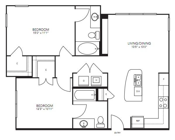 999 sq. ft. B6 floor plan