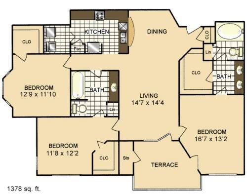 1,378 sq. ft. C1 floor plan