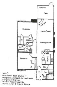 976 sq. ft. C floor plan