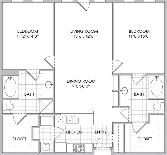 1,247 sq. ft. B3 floor plan