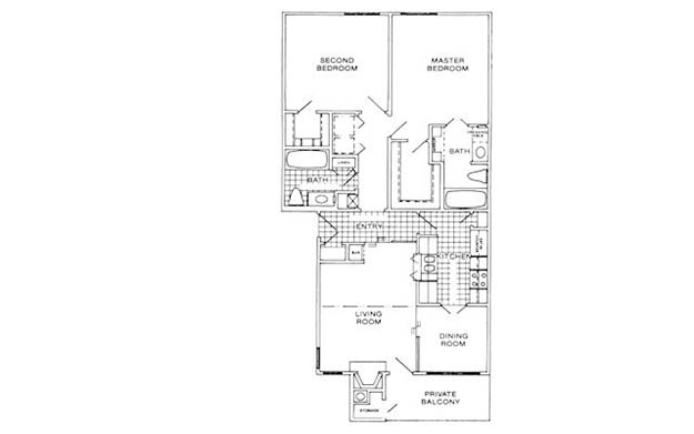 1,020 sq. ft. D floor plan