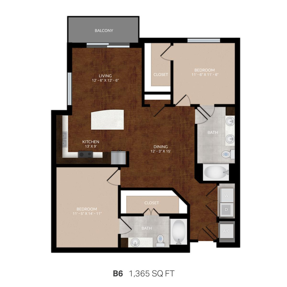 1,299 sq. ft. B6 floor plan