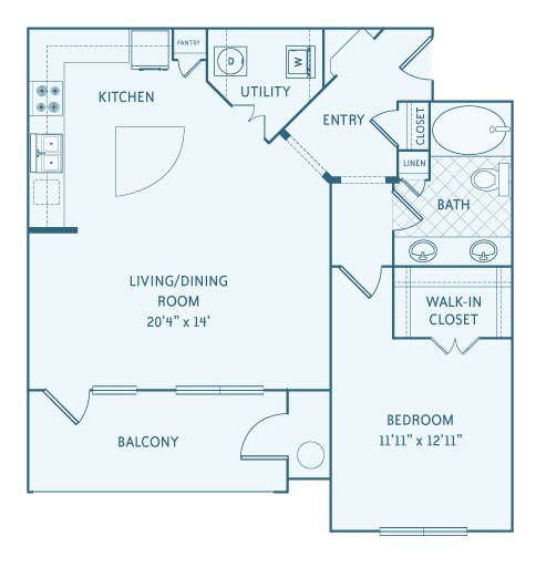 923 sq. ft. A3 floor plan