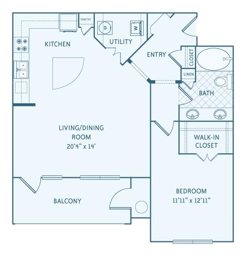 923 sq. ft. A3 floor plan