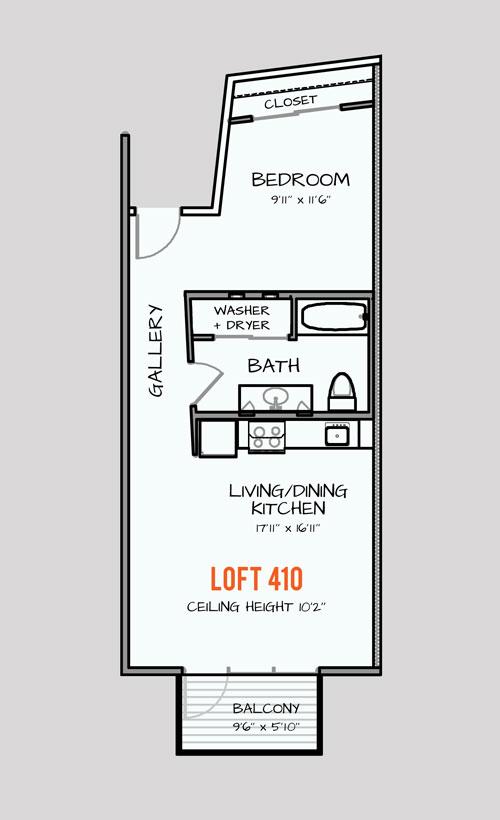 876 sq. ft. 121 floor plan