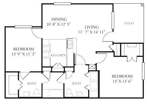 1,043 sq. ft. B2/60% floor plan