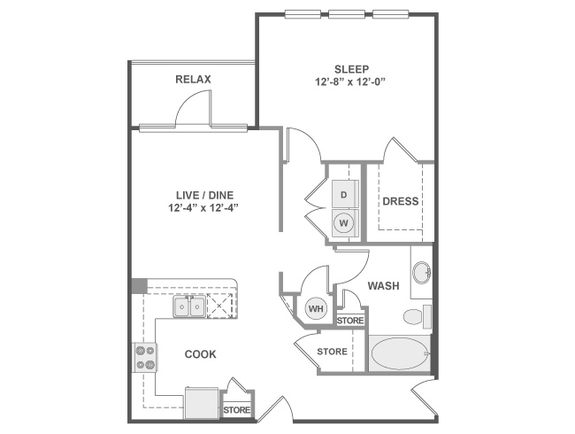 792 sq. ft. to 802 sq. ft. A3B floor plan