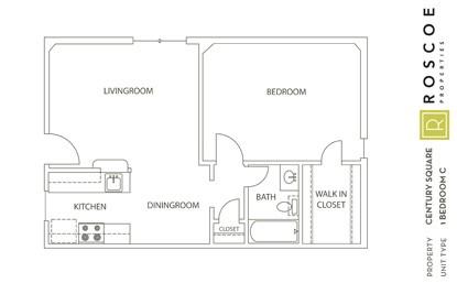 663 sq. ft. D floor plan