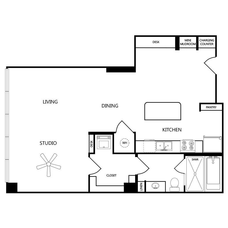 944 sq. ft. S4 floor plan