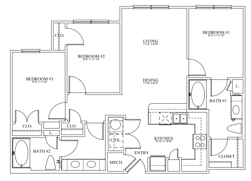 1,150 sq. ft. 50% floor plan