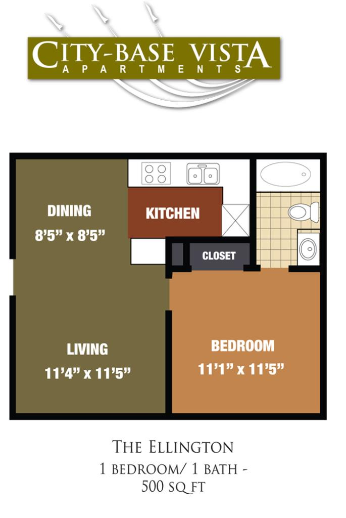 500 sq. ft. Kelly/Ellington floor plan
