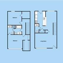 1,117 sq. ft. 2-1.5S floor plan