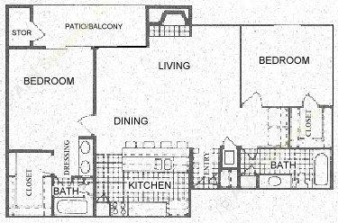 1,096 sq. ft. D floor plan