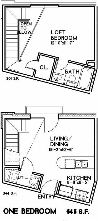 645 sq. ft. Waverly floor plan