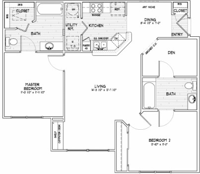 1,036 sq. ft. E SUN floor plan
