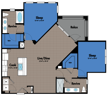 1,203 sq. ft. B3 floor plan
