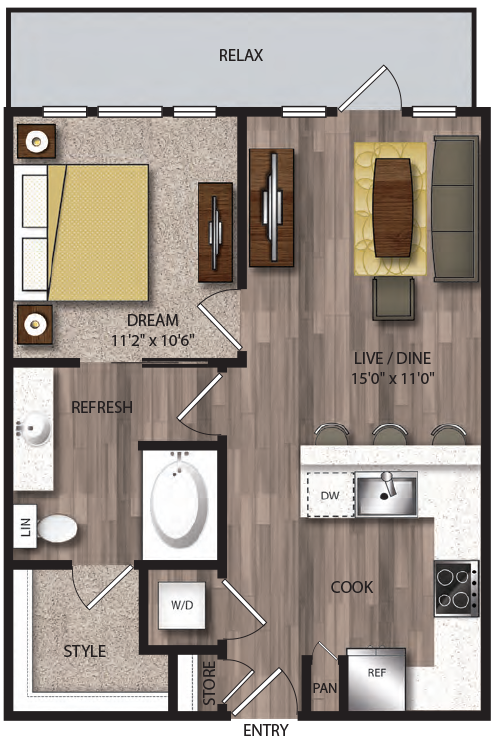 643 sq. ft. P-A4.1 floor plan