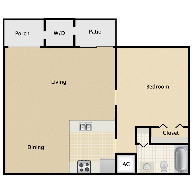 641 sq. ft. A2 floor plan