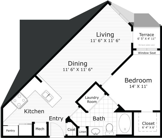 734 sq. ft. Monet (A3-1) floor plan