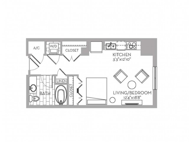 528 sq. ft. Royal(E.2) floor plan