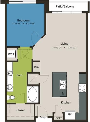 825 sq. ft. A1-L1 floor plan