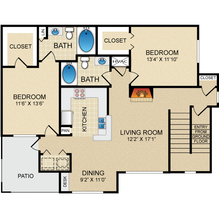 1,237 sq. ft. D4 floor plan