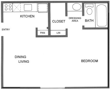 402 sq. ft. A1 floor plan