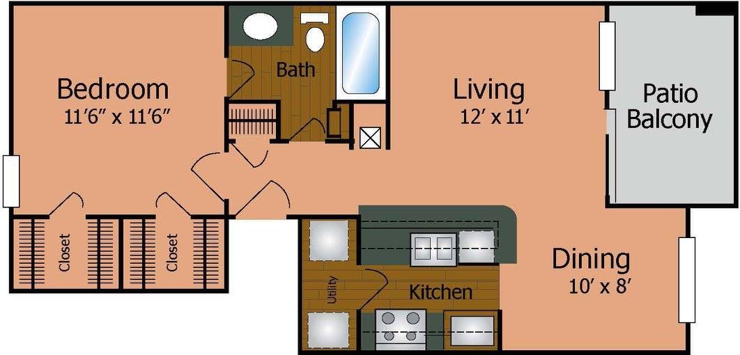 640 sq. ft. A1/Victorian floor plan