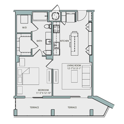 763 sq. ft. A2.1 floor plan