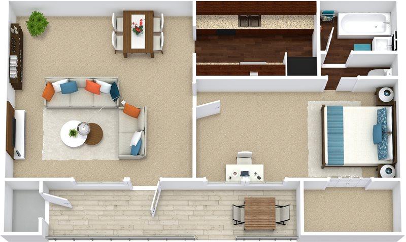 561 sq. ft. A1 floor plan