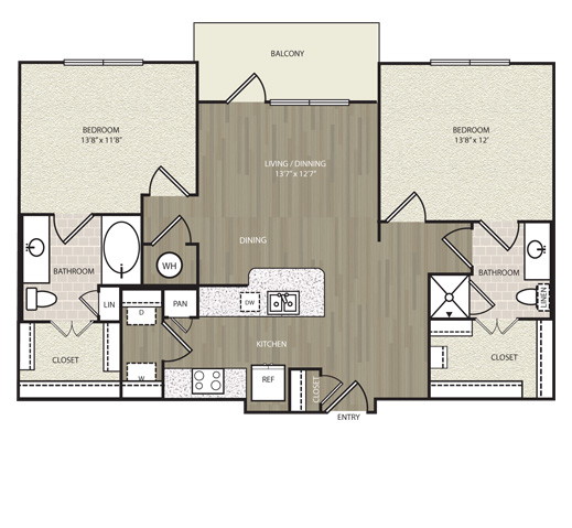 1,035 sq. ft. B2 floor plan