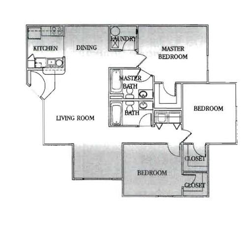 1,222 sq. ft. 30% floor plan