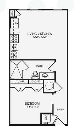 613 sq. ft. Arden/E1A floor plan