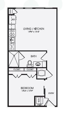 613 sq. ft. Arden/E1A floor plan