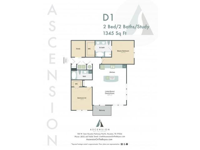 1,345 sq. ft. D1 floor plan