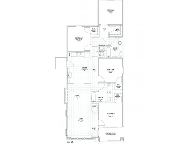 1,544 sq. ft. D1M floor plan
