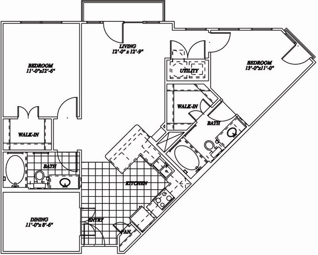 1,119 sq. ft. B1A floor plan