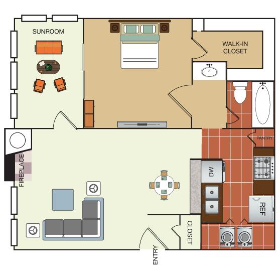 667 sq. ft. 1D floor plan