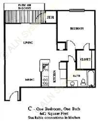 642 sq. ft. A3 floor plan