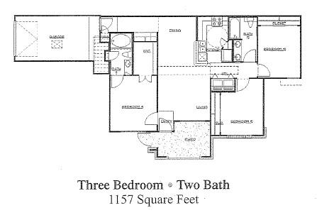 1,157 sq. ft. 60% floor plan