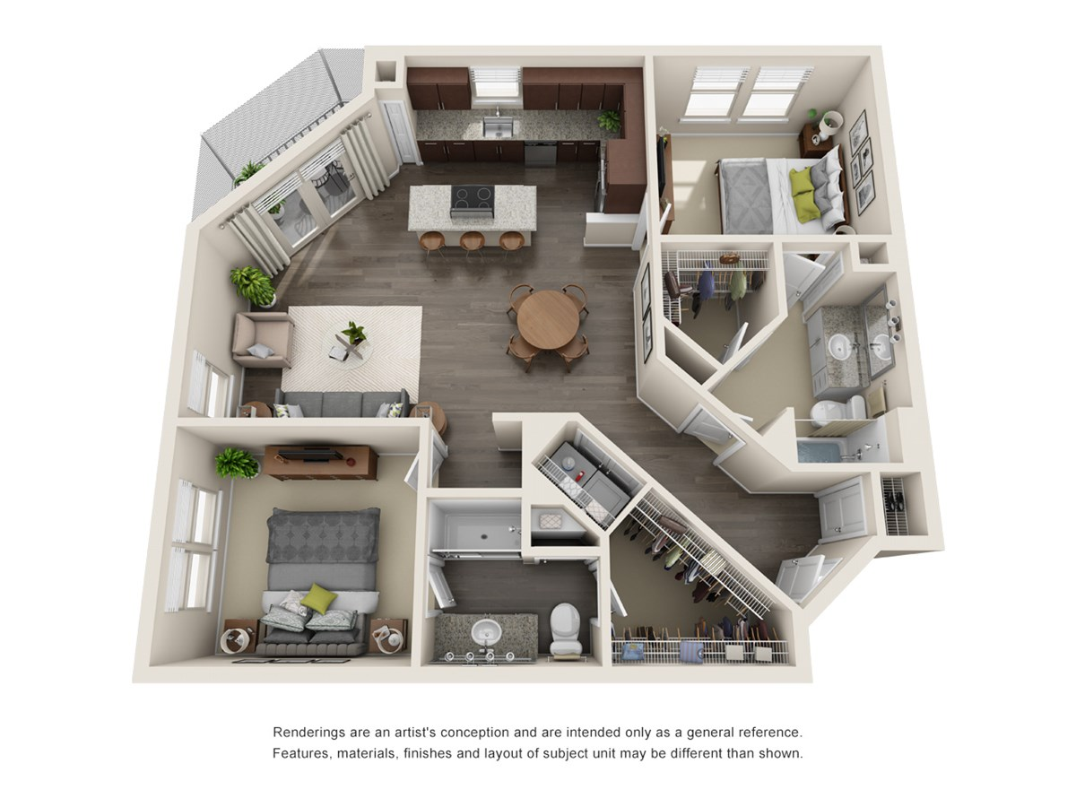 1,203 sq. ft. B4 floor plan