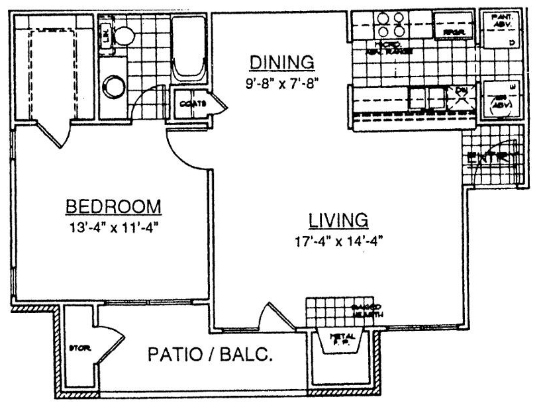 765 sq. ft. A1 floor plan
